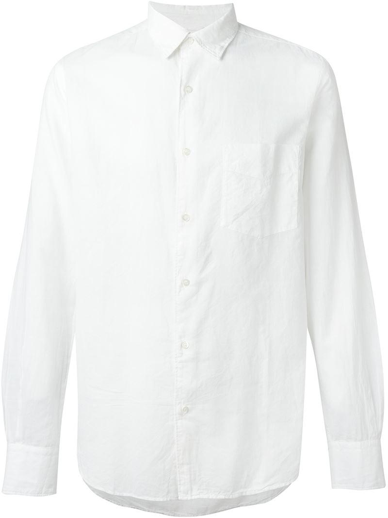 Aspesi semi cutaway collar shirt in white for men lyst for White cutaway collar shirt