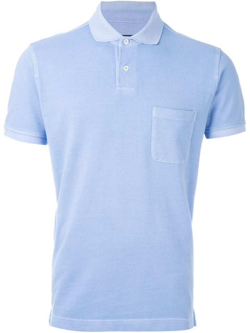 Z zegna chest pocket polo shirt in blue for men lyst for Zegna polo shirts sale