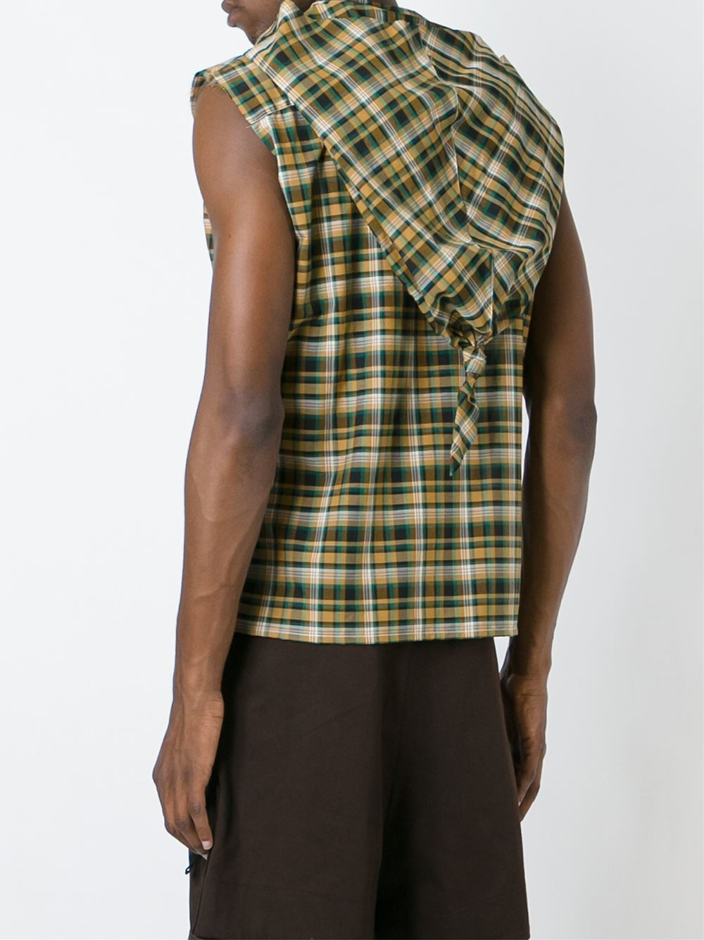 Raf Simons Plaid Sleeveless Hoodie Button Down Shirt In