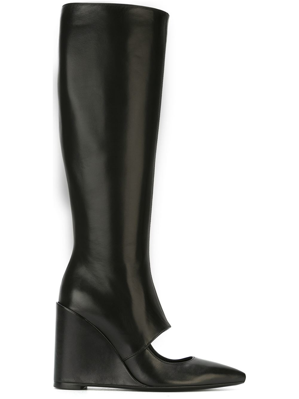 j w cut out wedge boots in black lyst