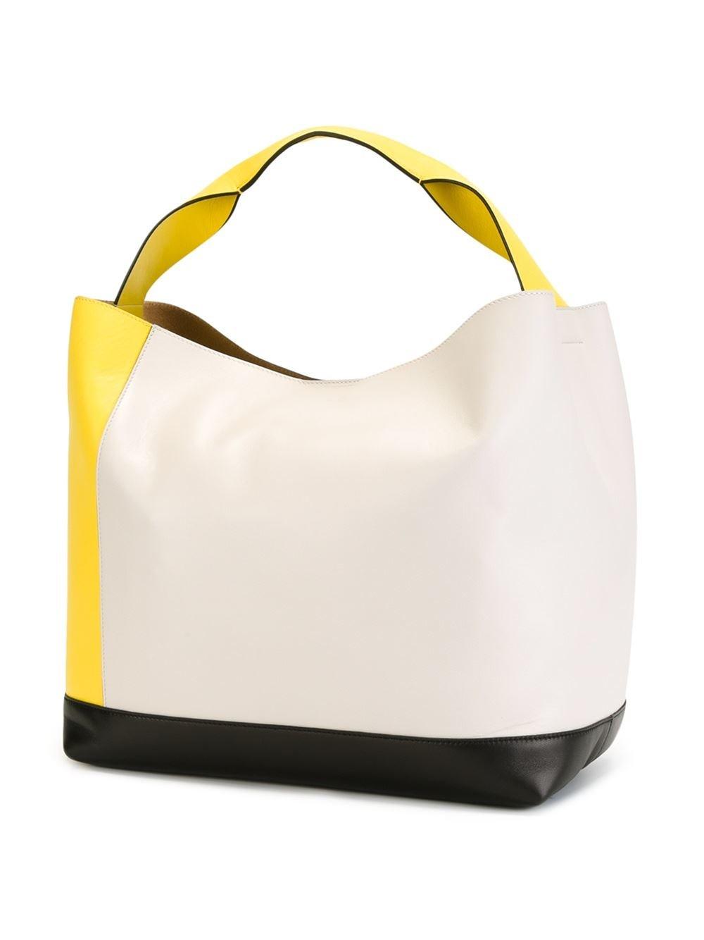 Marni Pod Color-Blocked Leather Tote Bag in Yellow/Orange (White)