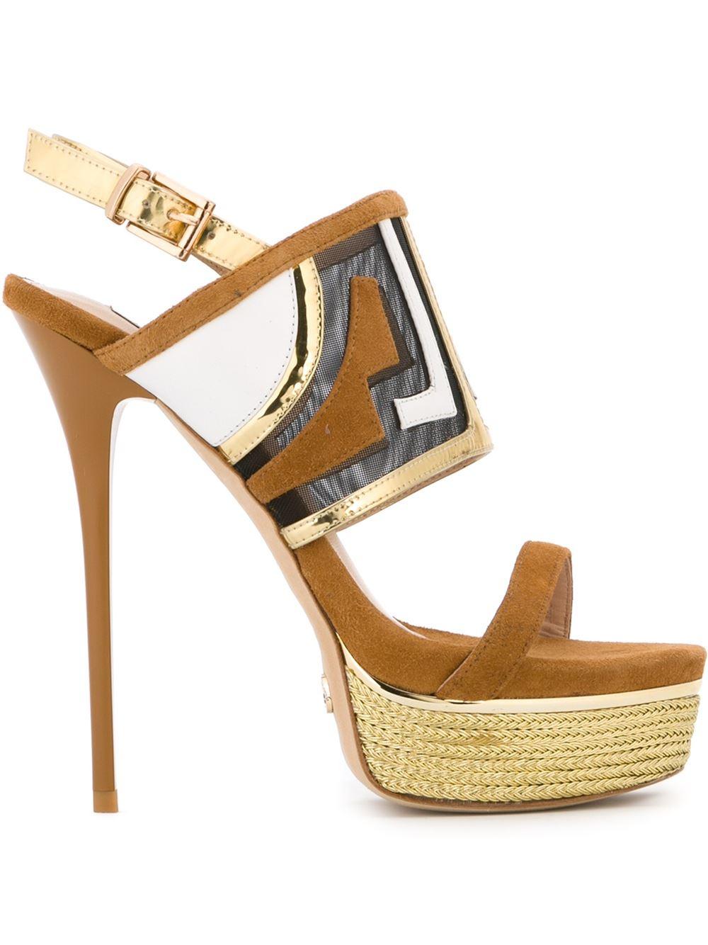 gianni renzi platform sandals in brown lyst