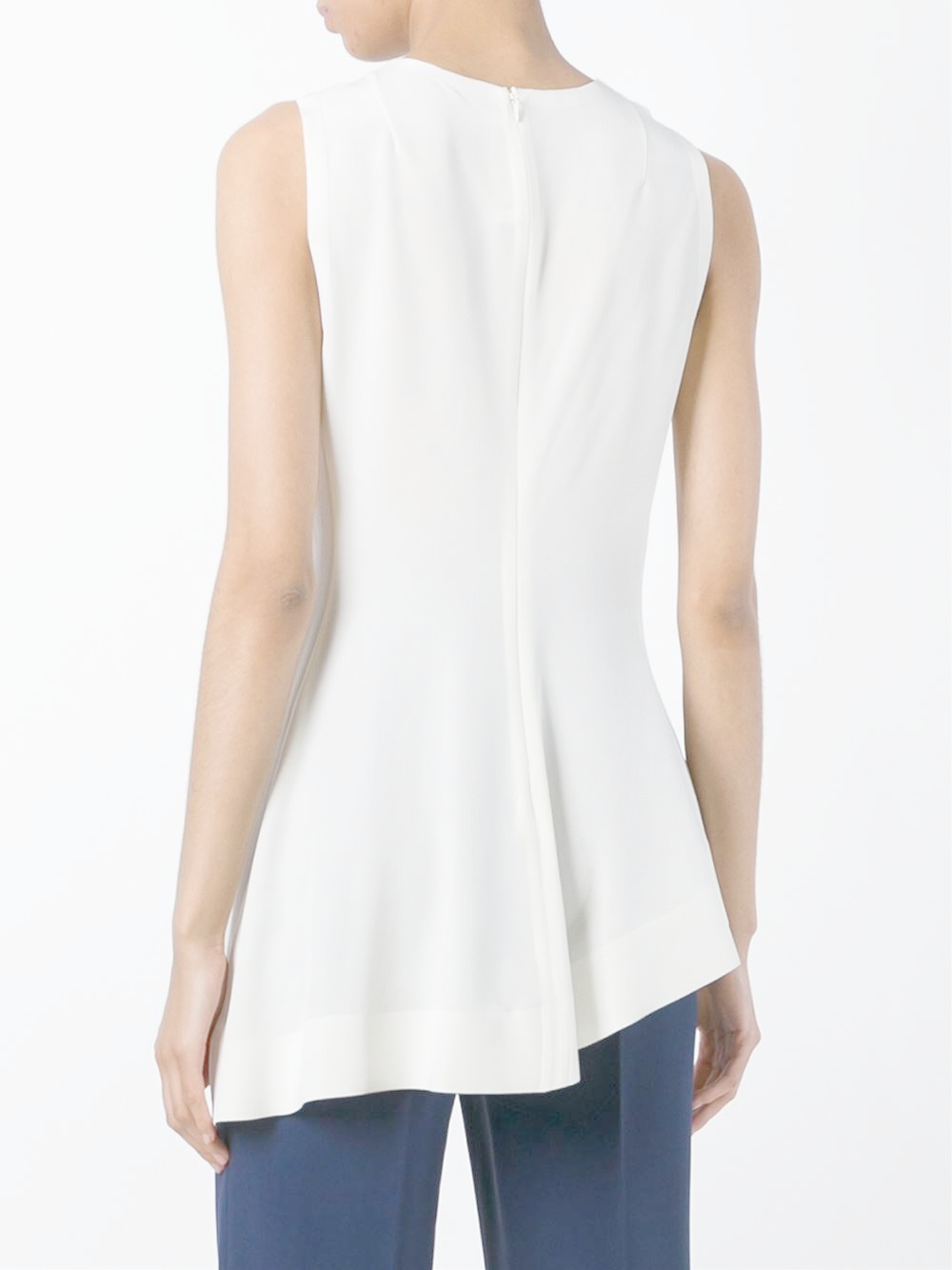 Marni Asymmetric Pleated Top in White