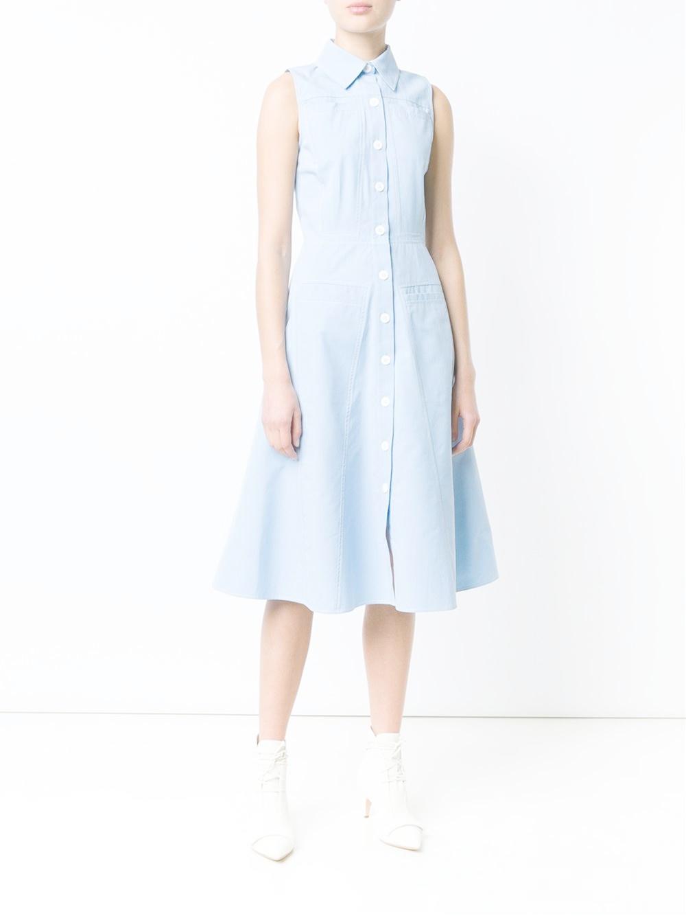 derek lam flared shirt dress in blue lyst