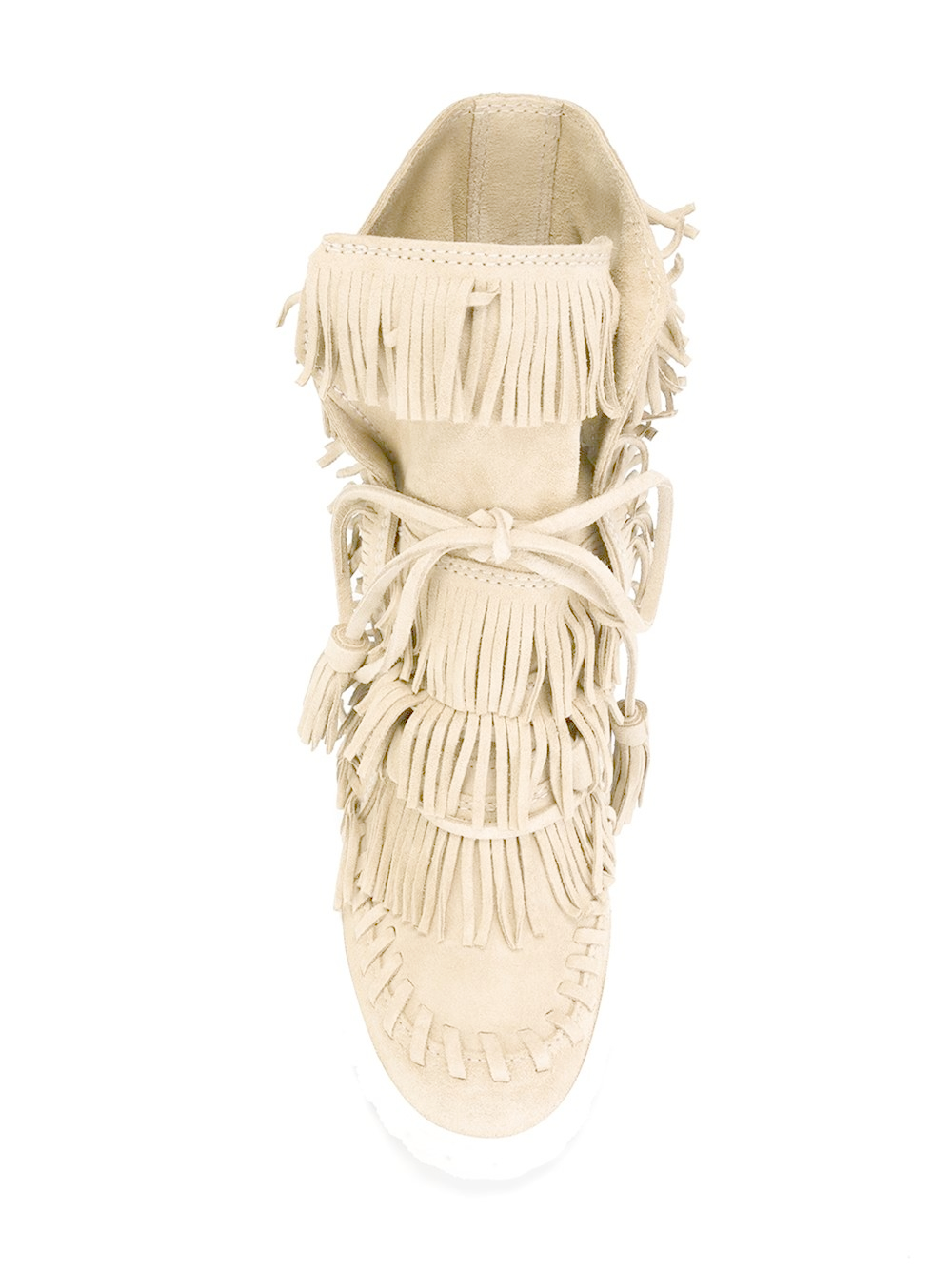 Casadei Leather Fringed Hi-top Wedge Sneakers in Natural