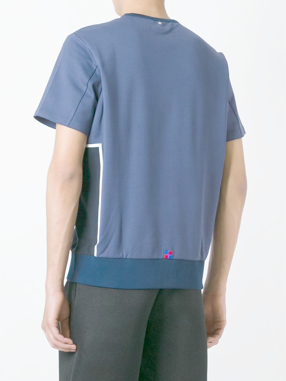 Lyst oamc ribbed hem t shirt in blue for men for Mens ribbed t shirts
