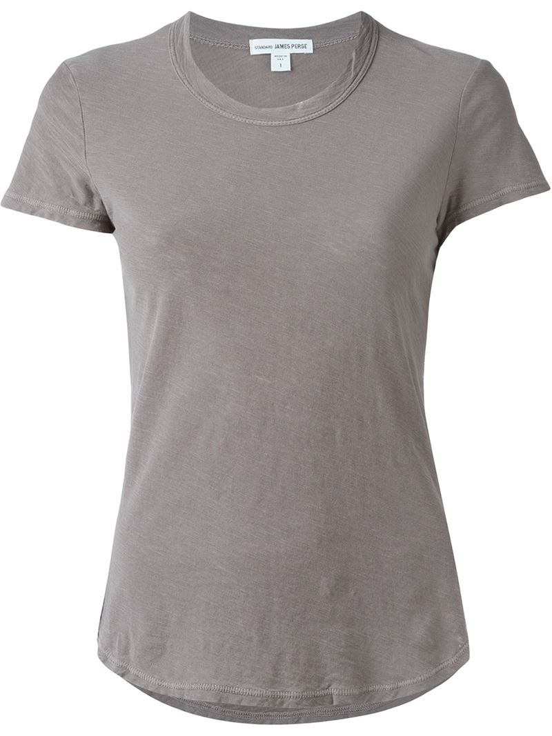 James perse slub crewneck t shirt in gray grey lyst for James perse t shirts sale