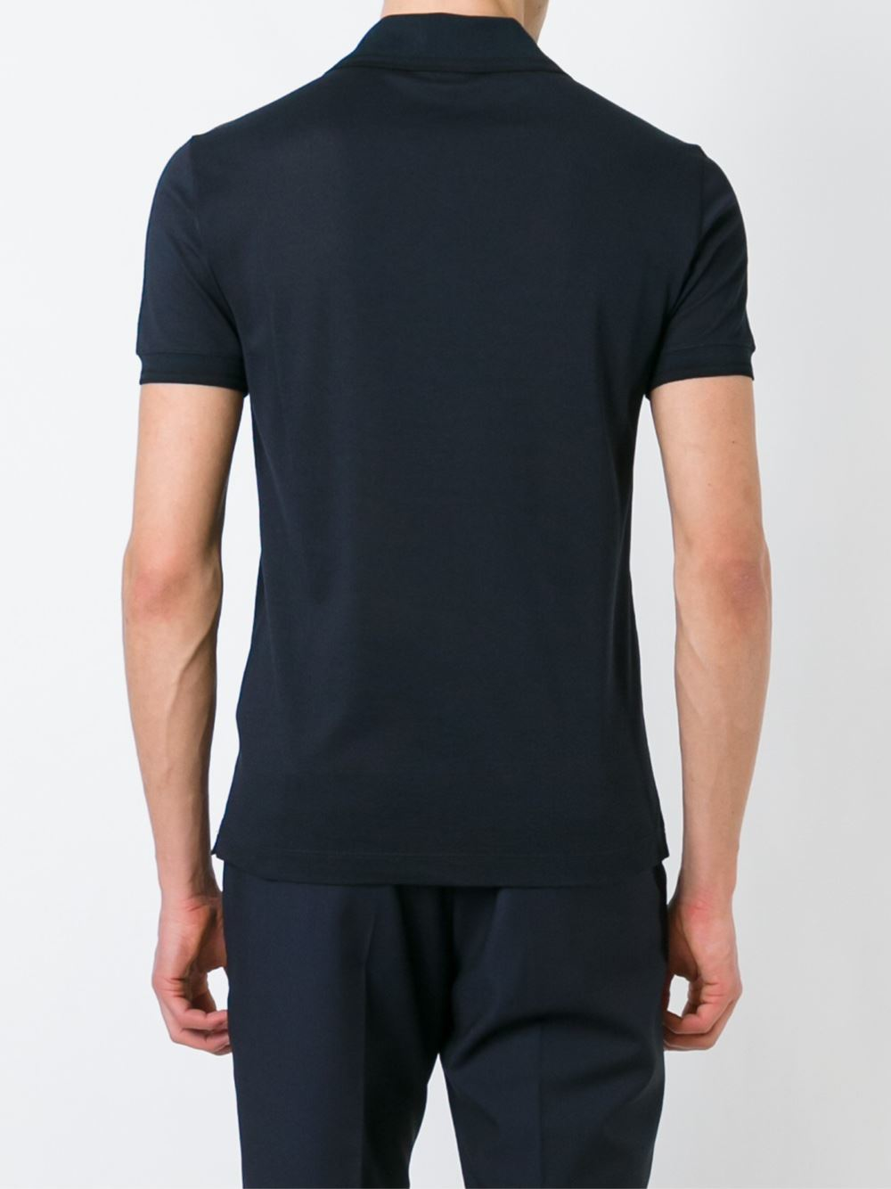 Giorgio armani chest pocket polo shirt in black for men lyst for Men s polo shirts with chest pocket