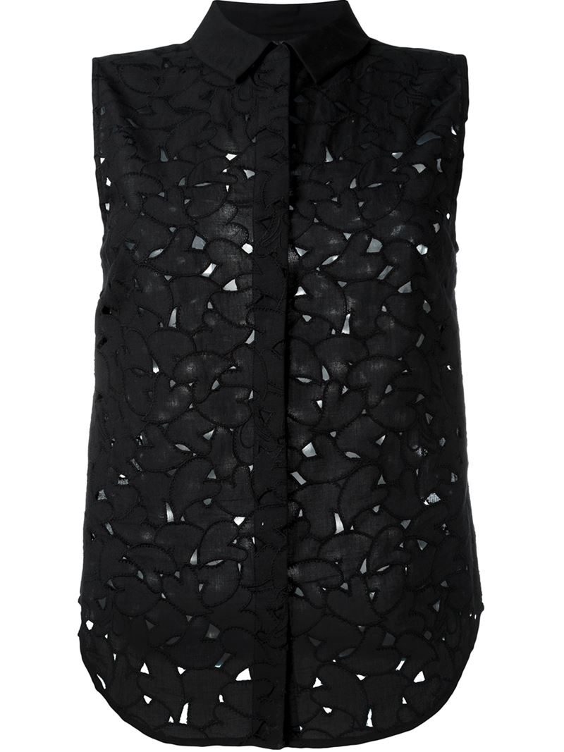 Lyst sonia by sonia rykiel heart panel button down for Sleeveless cotton button down shirts