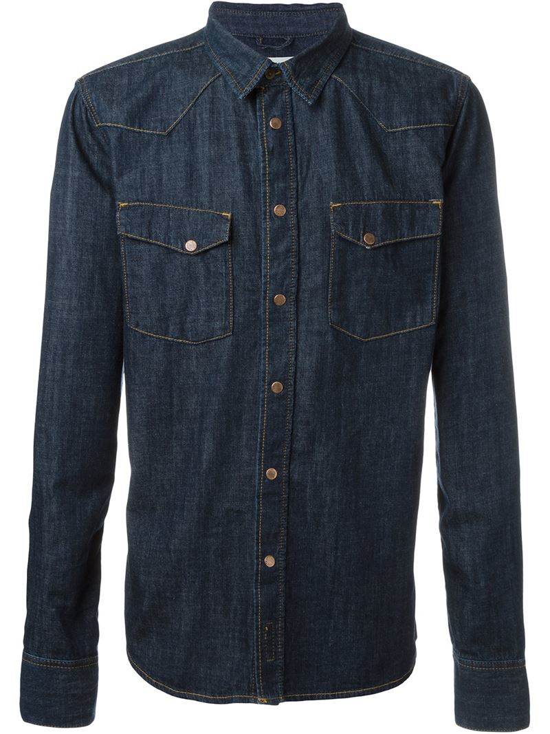 Nudie jeans 39 jonis triton 39 button down denim shirt in blue for Denim button down shirts