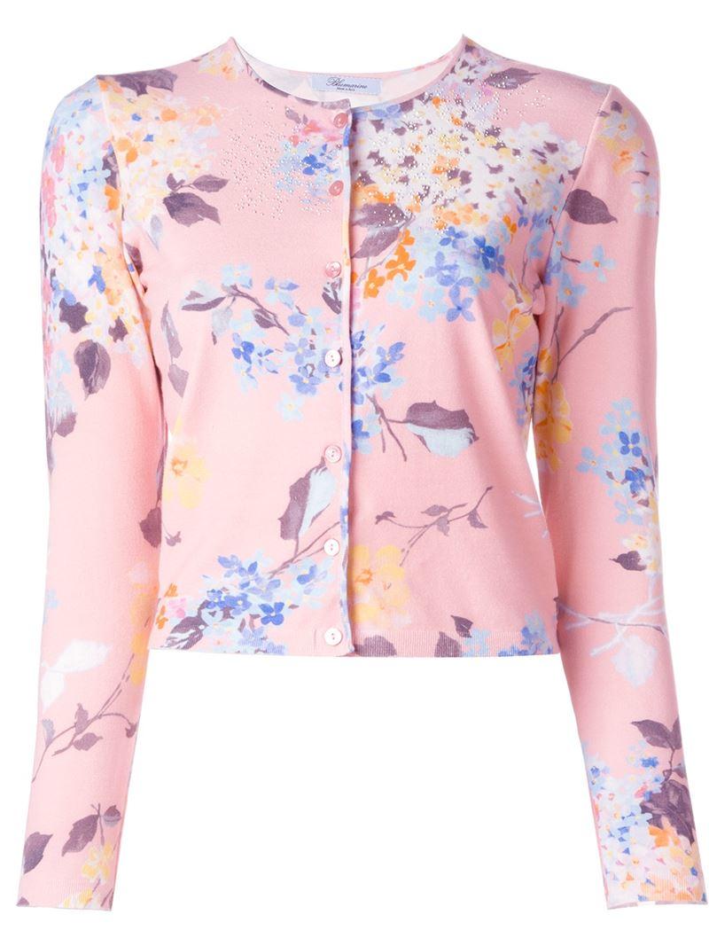 Lyst Blumarine Floral Print Cropped Cardigan