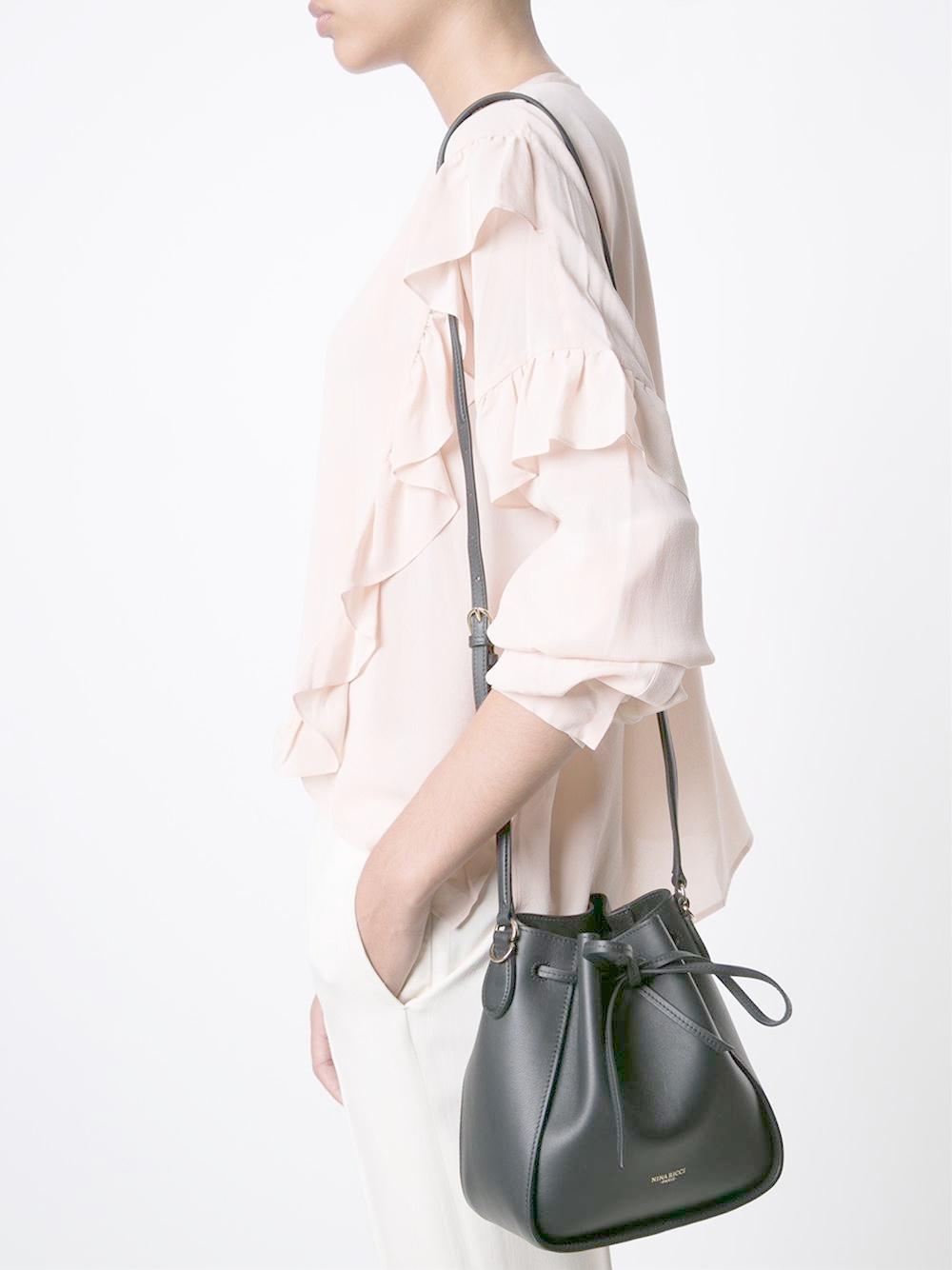 Nina Ricci Leather String Tie Bucket Cross Body Bag in Black