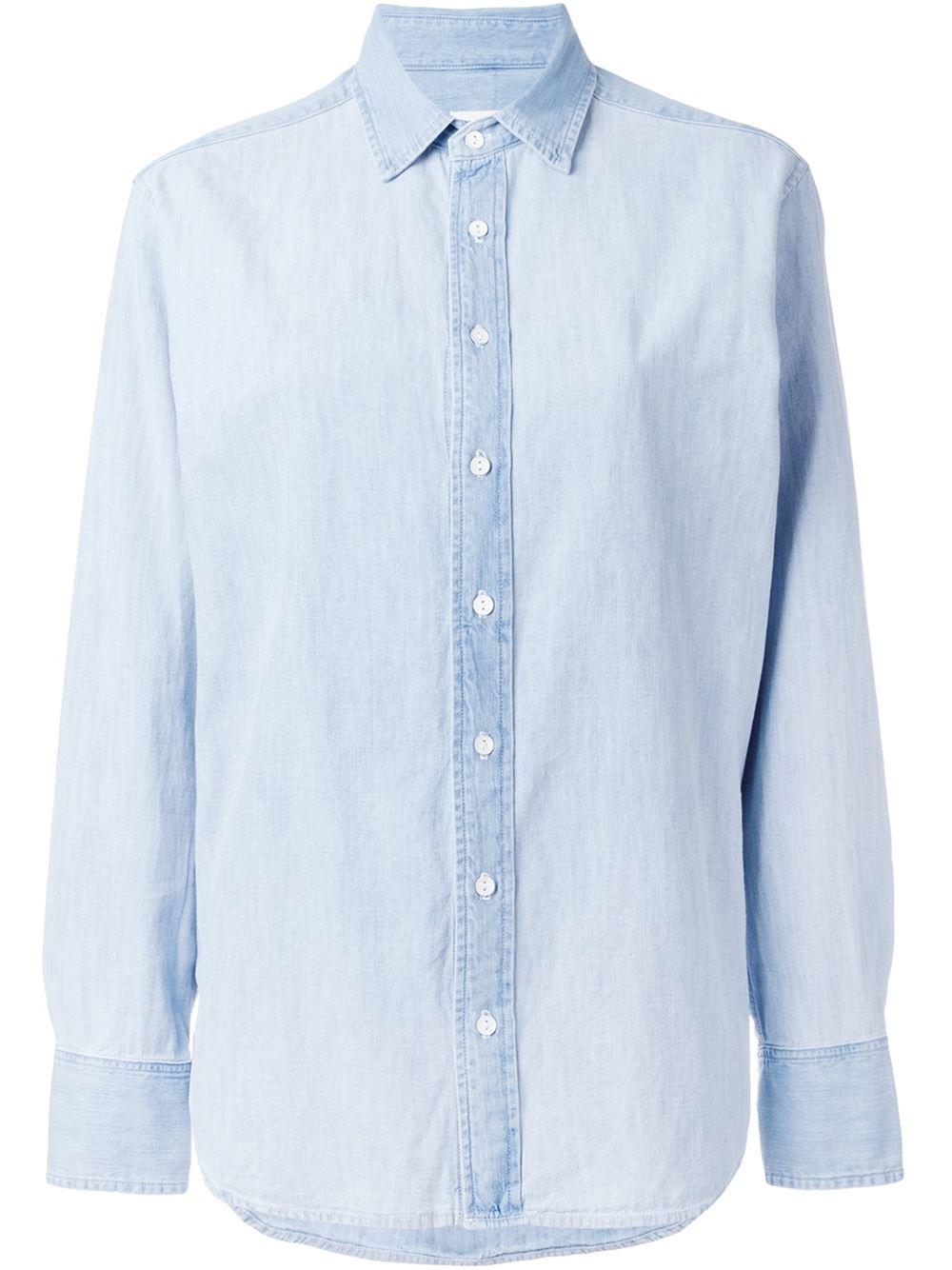 Rag bone denim shirt in blue lyst for Rag bone shirt