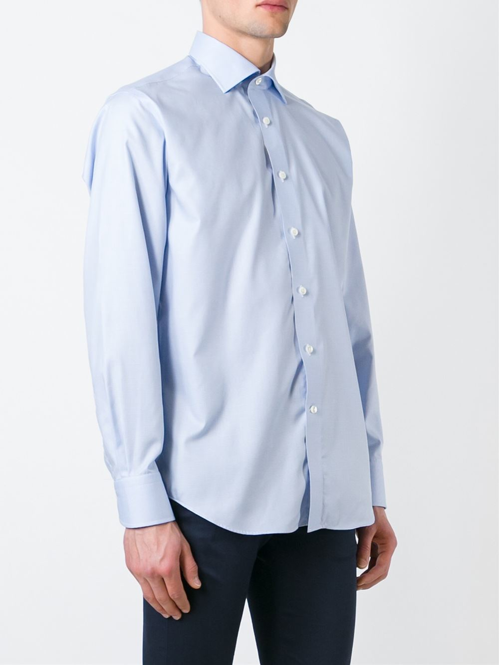 Canali spread collar shirt in blue for men lyst for Men s spread collar shirts