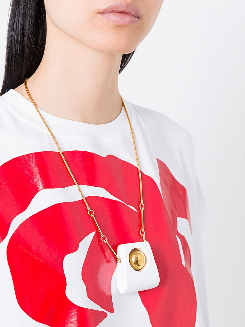 Marni Wood Pendant Necklace in White