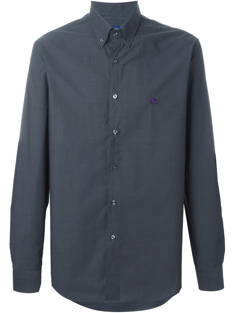etro button down shirt in gray for men grey lyst
