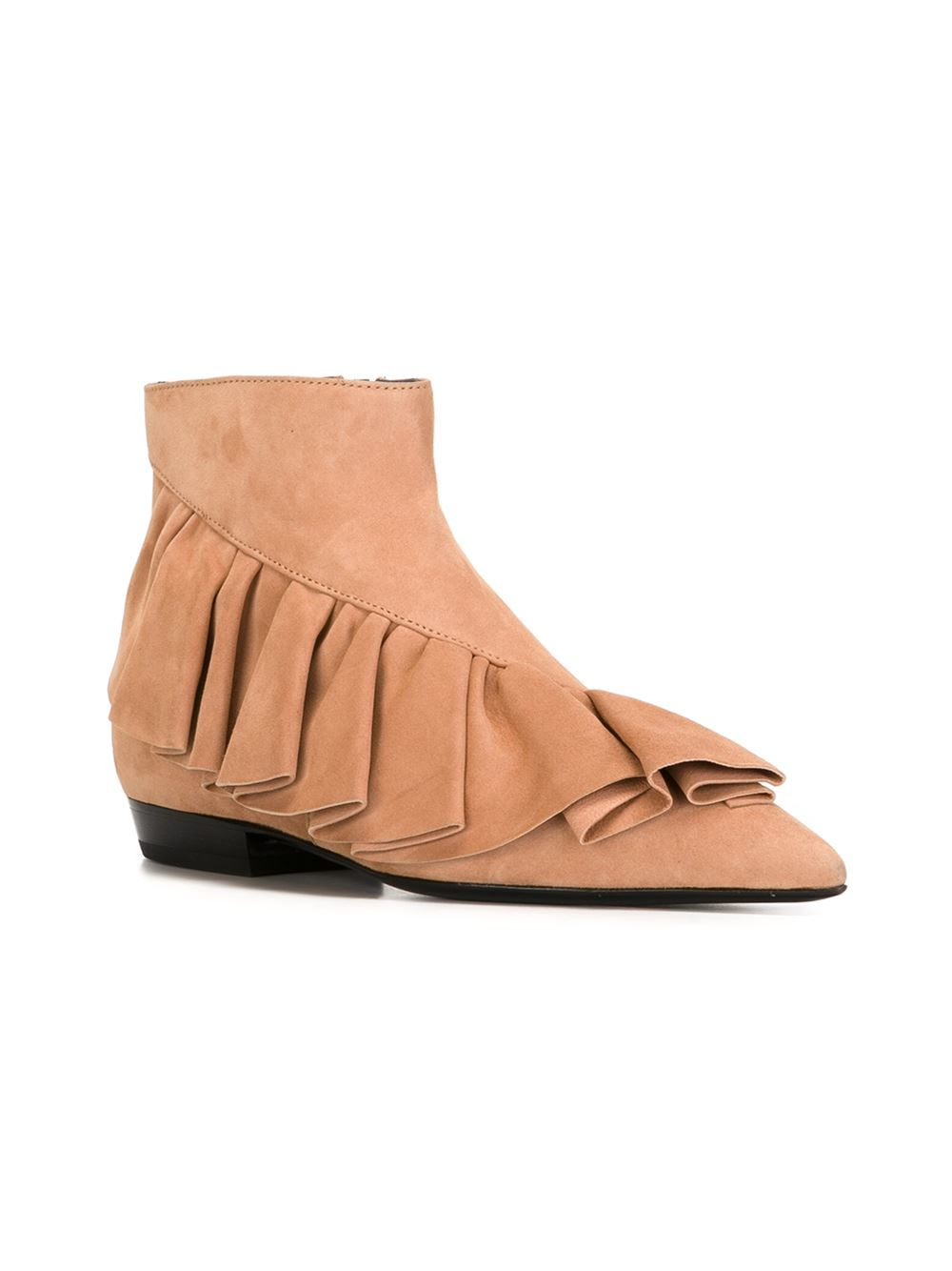 JW Anderson Leather Ruffle Ankle Boots in Natural