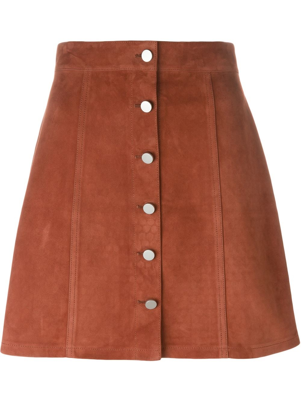 theory buttoned a line skirt in brown lyst