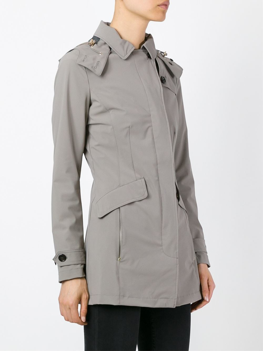 Woolrich Hooded Trench Coat In Gray Lyst
