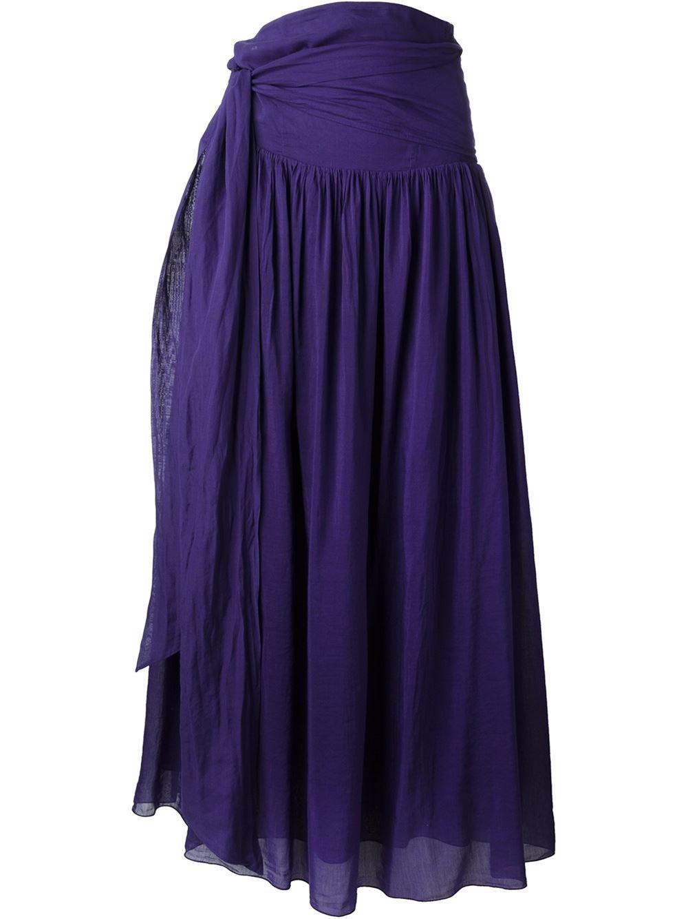 forte forte tie waist maxi skirt in blue lyst