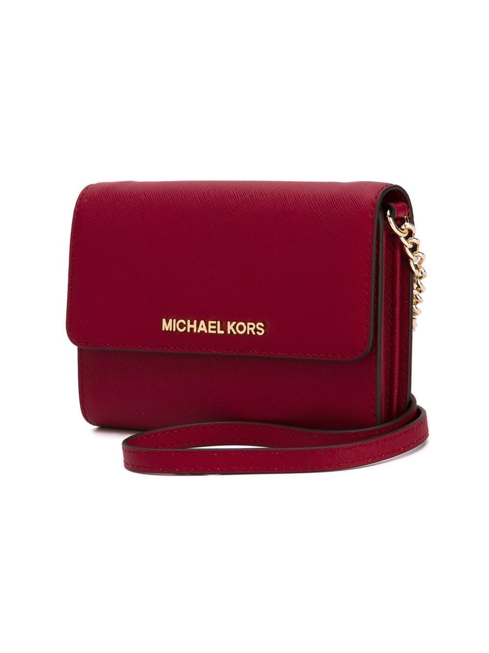 MICHAEL Michael Kors Leather Mini 'jet Set' Crossbody Bag in Red (Pink)
