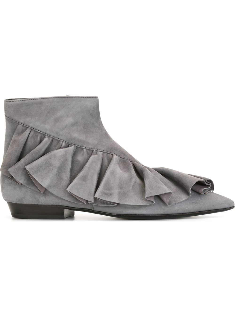J W Anderson Ruffle Ankle Boots In Gray Lyst