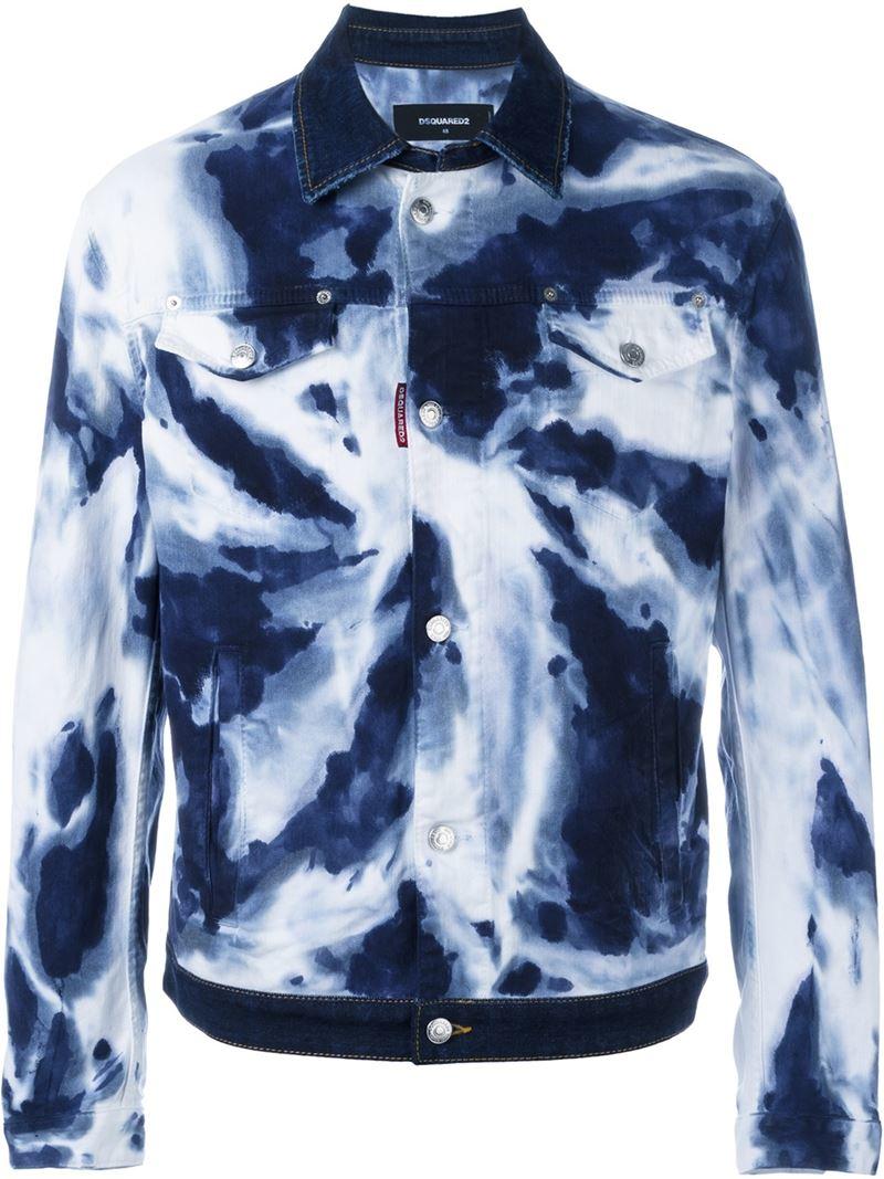 dsquared 178 tie dye jean jacket in blue for lyst