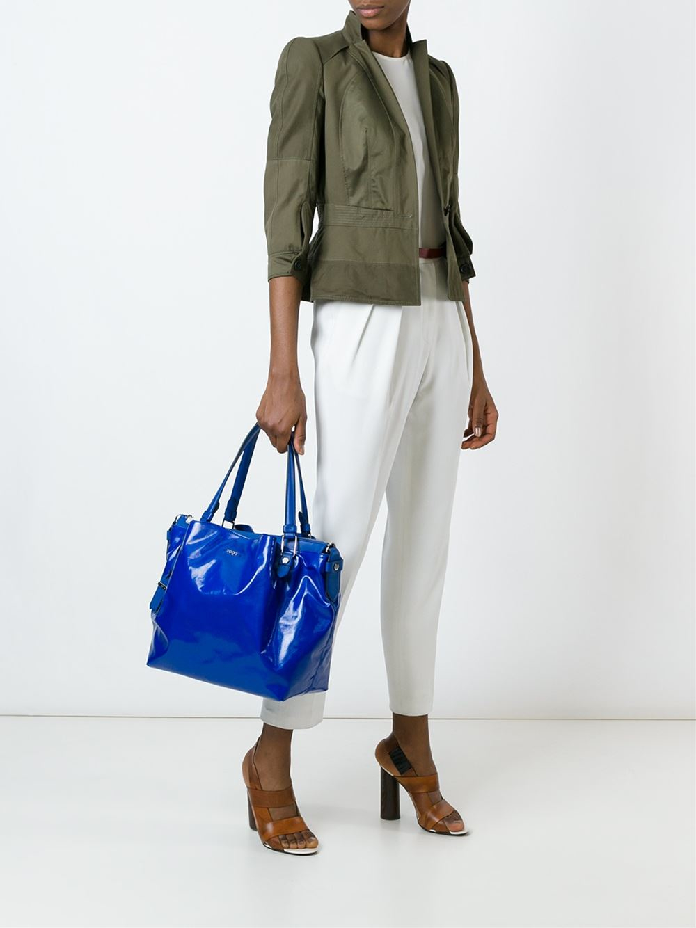 Tod's Cotton Glossy 'genziana' Tote in Blue