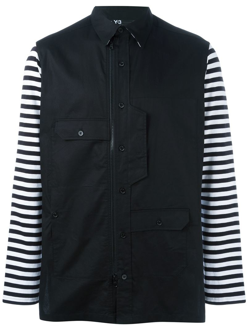 Y 3 striped contrast sleeve button down shirt in black for for Striped button down shirts for men