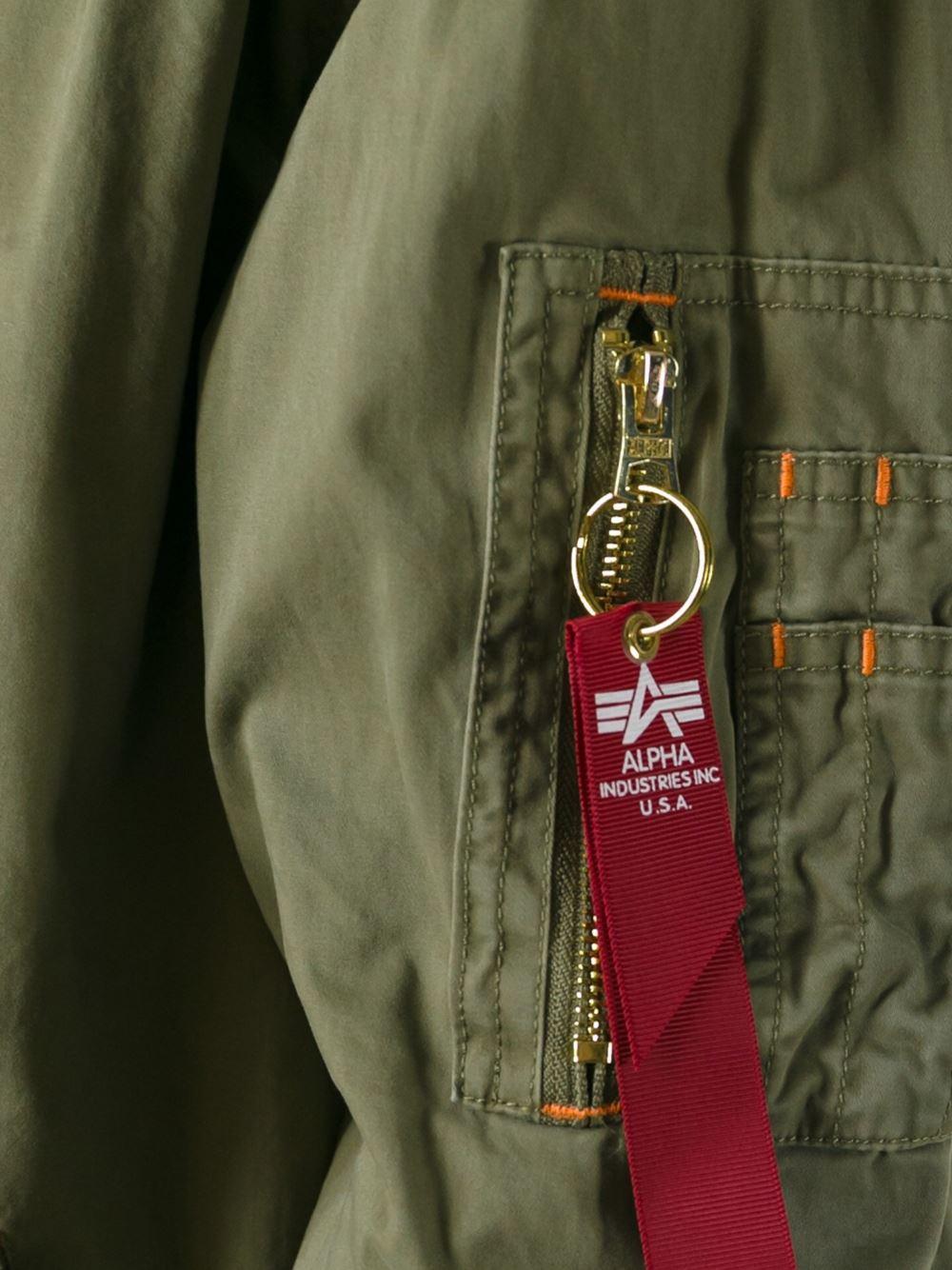 Alpha Industries Cotton Hooded Zip Jacket in Green for Men