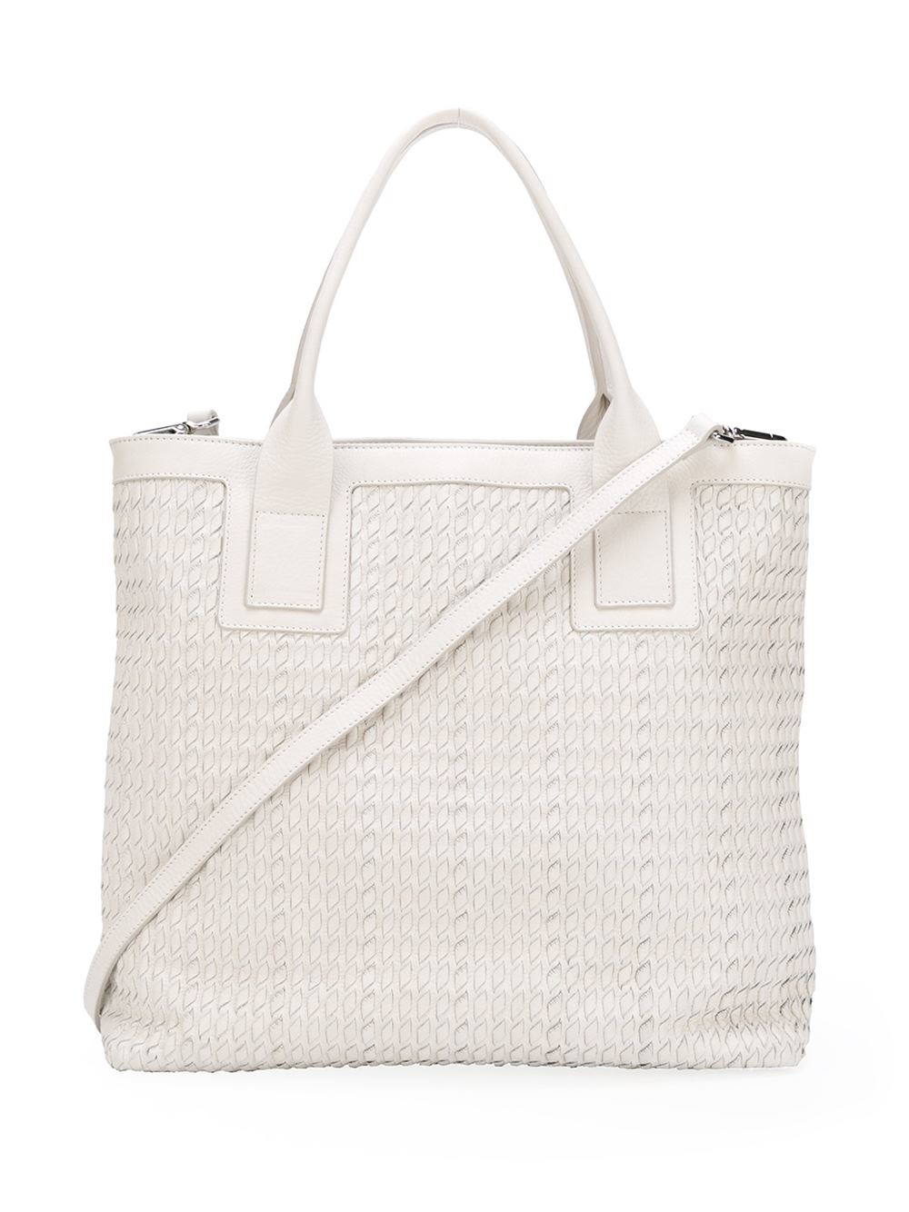 Fabiana Filippi Leather Large Textured Tote in Grey (Grey)
