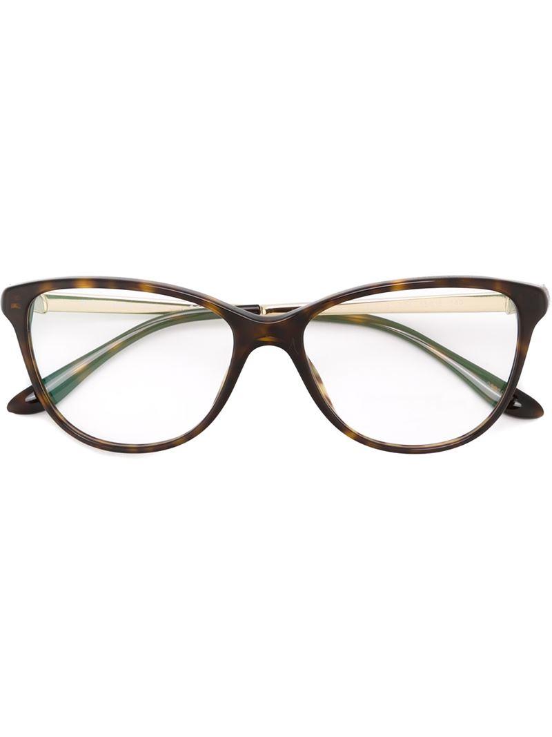 bvlgari cat eye frame glasses in black lyst