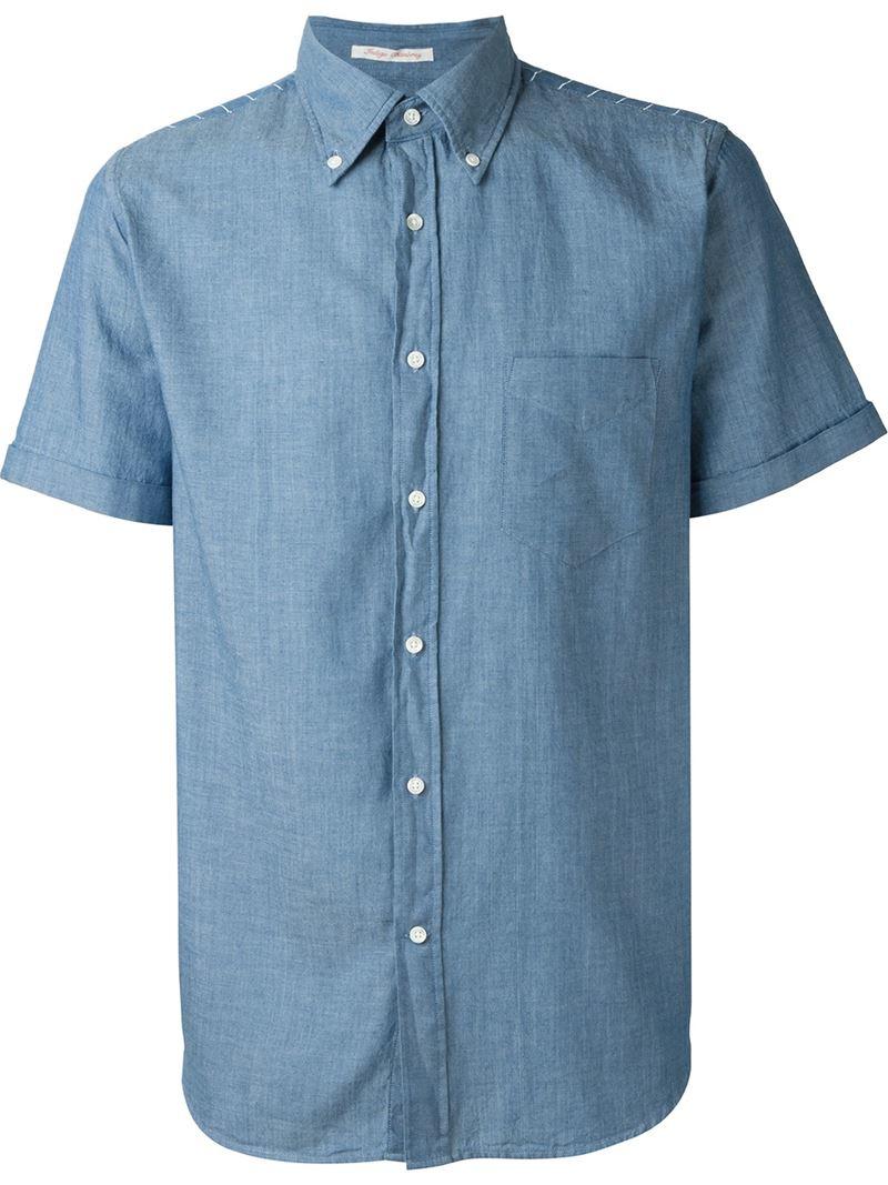 Gant Rugger 39 Chambray Hobd 39 Short Sleeve Shirt In Blue For