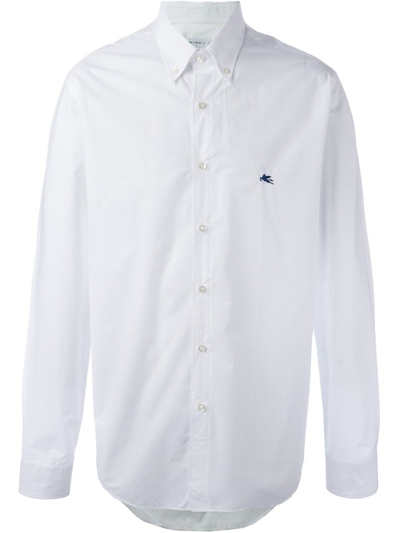 etro embroidered logo button down shirt in white for men