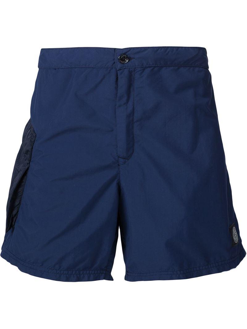 stone island pocket detail bermuda shorts in blue for men. Black Bedroom Furniture Sets. Home Design Ideas
