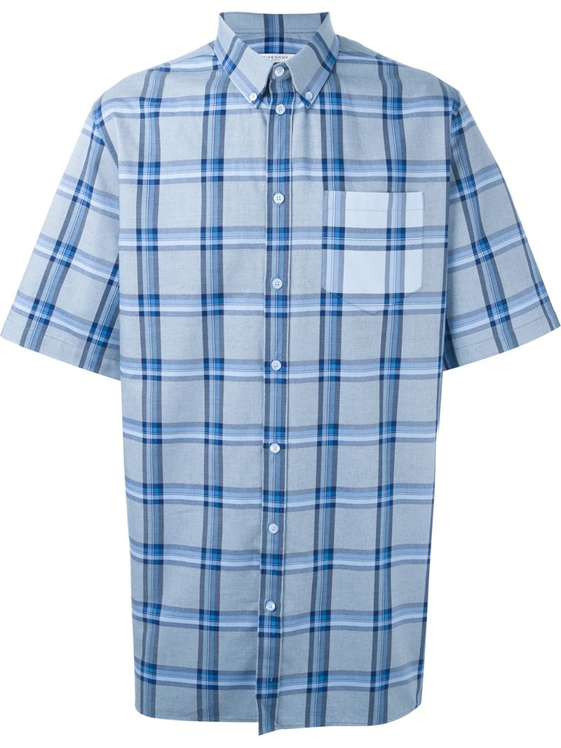 Givenchy short sleeve plaid shirt in blue for men lyst Short sleeve plaid shirts
