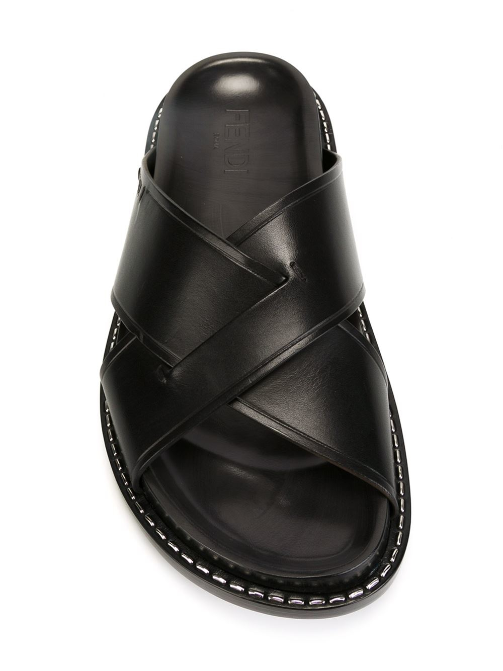 Lyst Fendi Crisscross Sandals In Black For Men