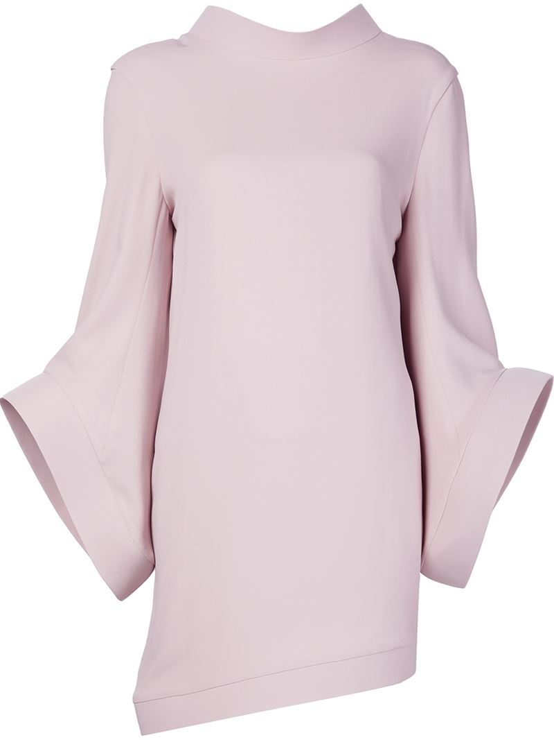 brandon maxwell oversized bell sleeve dress in gray lyst