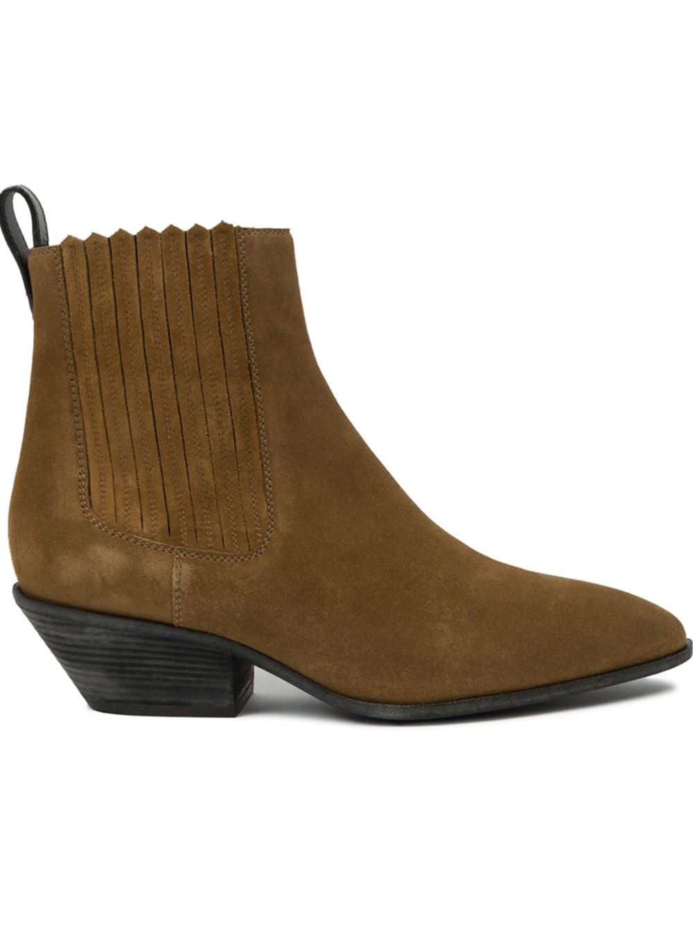 giuseppe zanotti western suede ankle boots in brown lyst