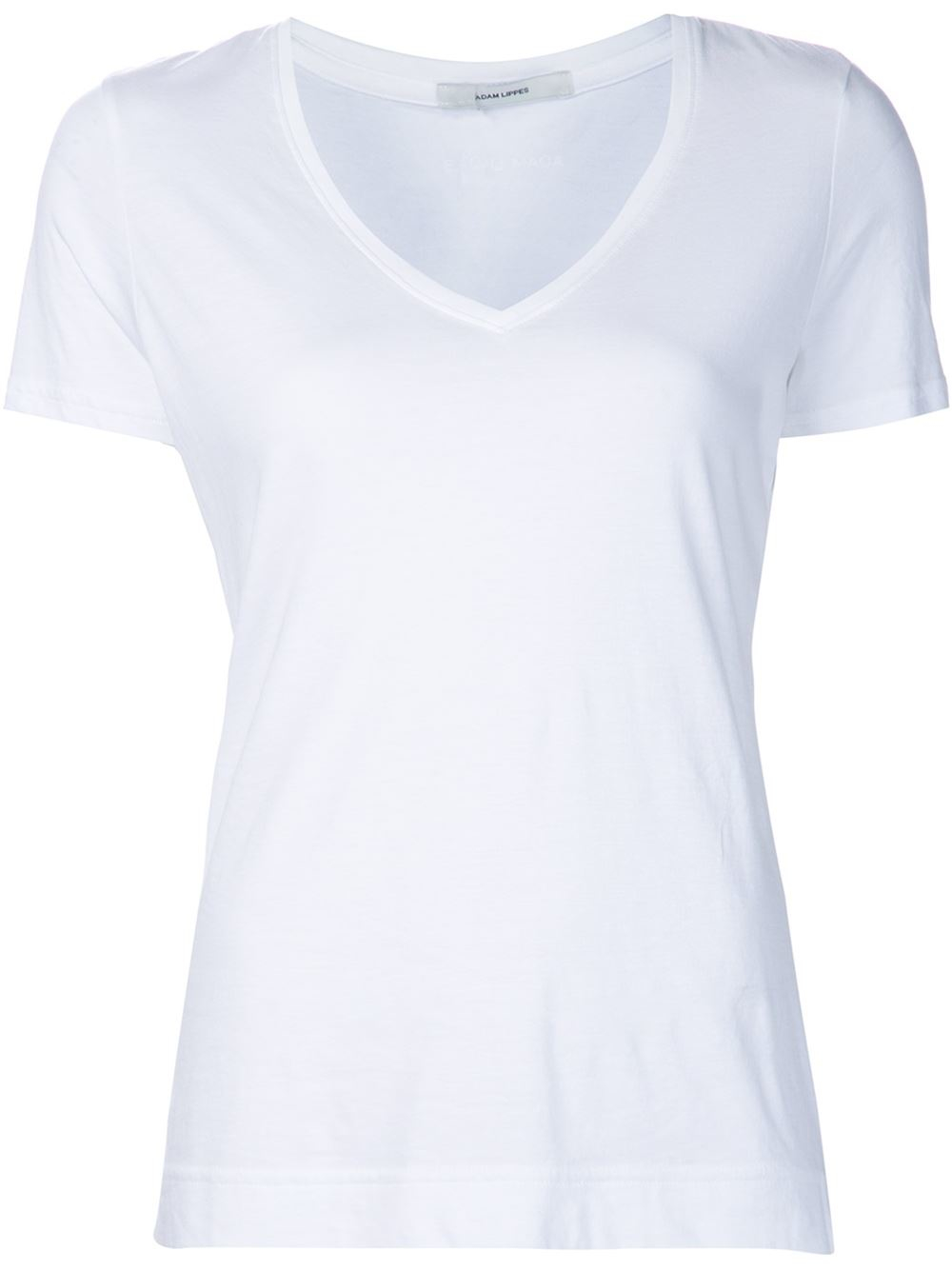 Adam lippes v neck t shirt in white lyst for Adam lippes t shirt