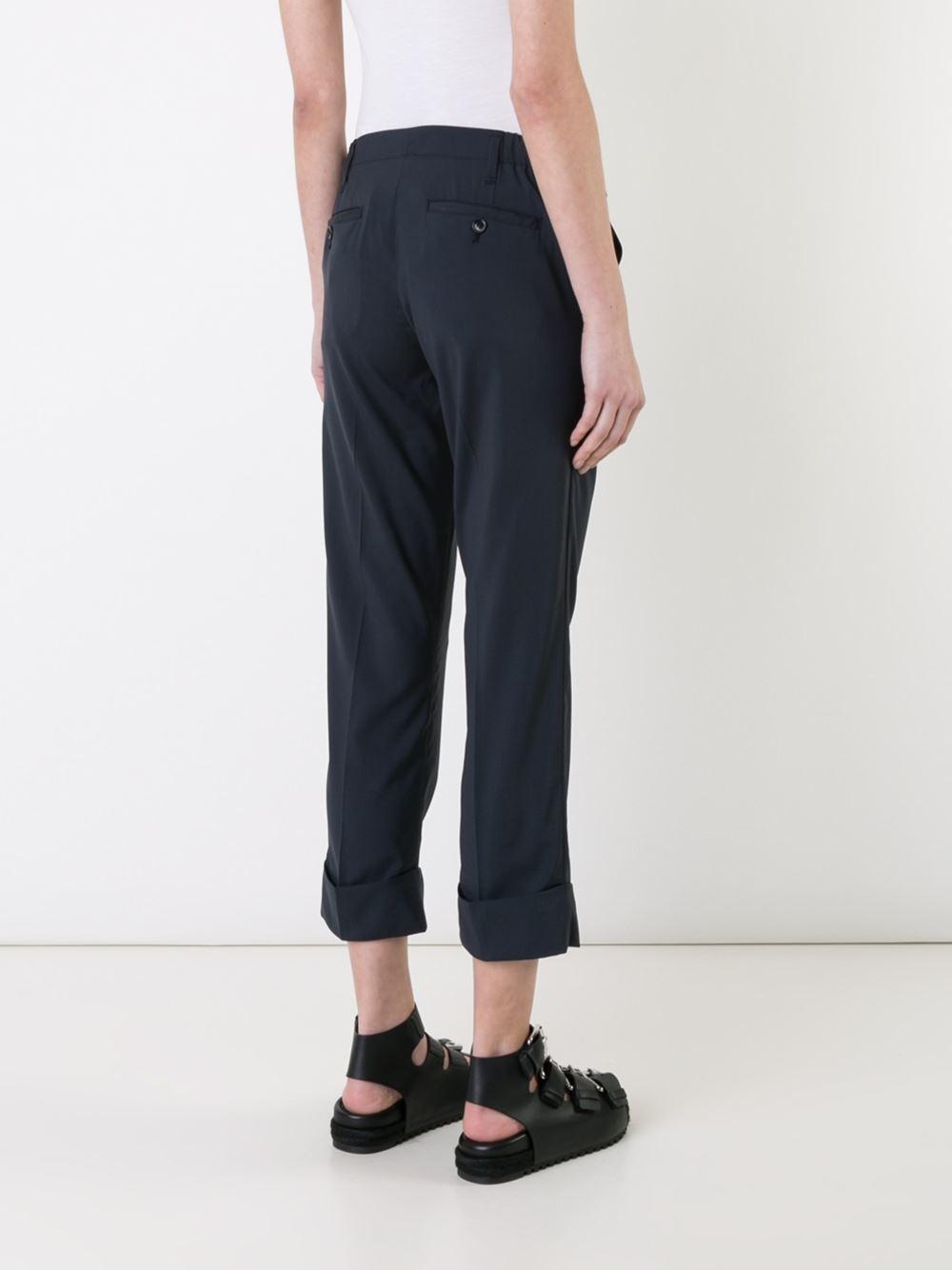 Luxury Julien David Cropped Tailored Pants In Black  Lyst