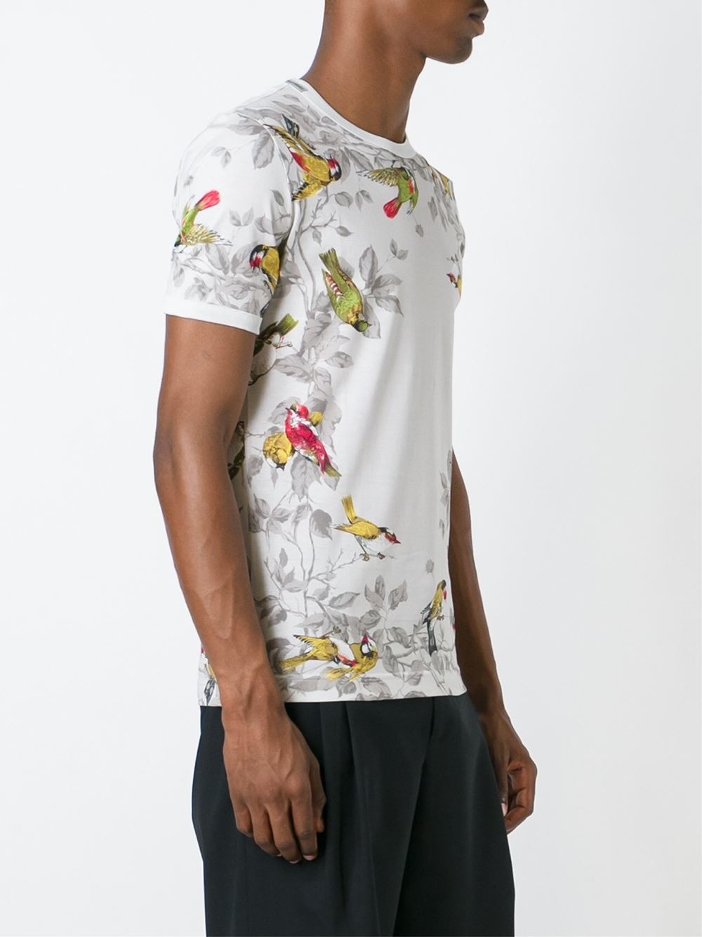 lyst dolce gabbana bird print t shirt in gray for men. Black Bedroom Furniture Sets. Home Design Ideas