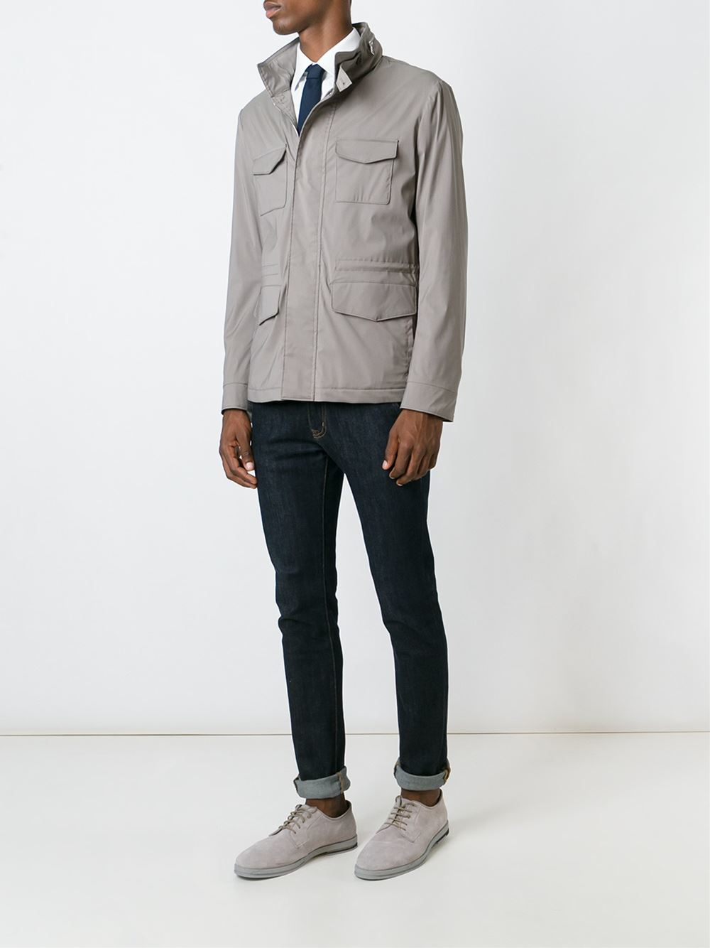 Eleventy Wool Zip Up Military Jacket in Blue for Men