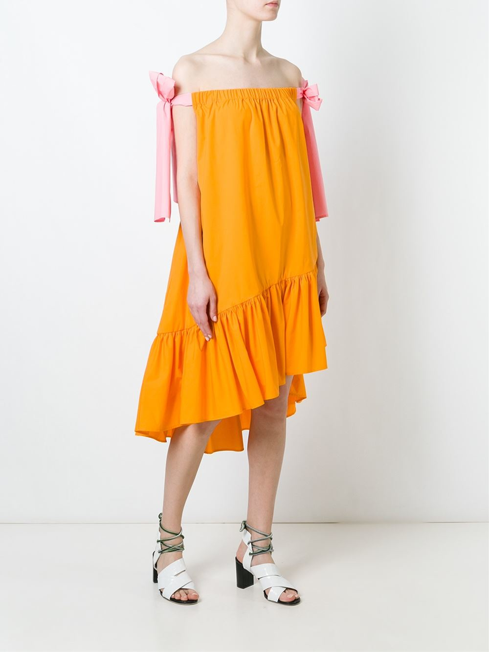 off-the-shoulder broderie anglaise dress - Yellow & Orange Msgm ZZgZvD