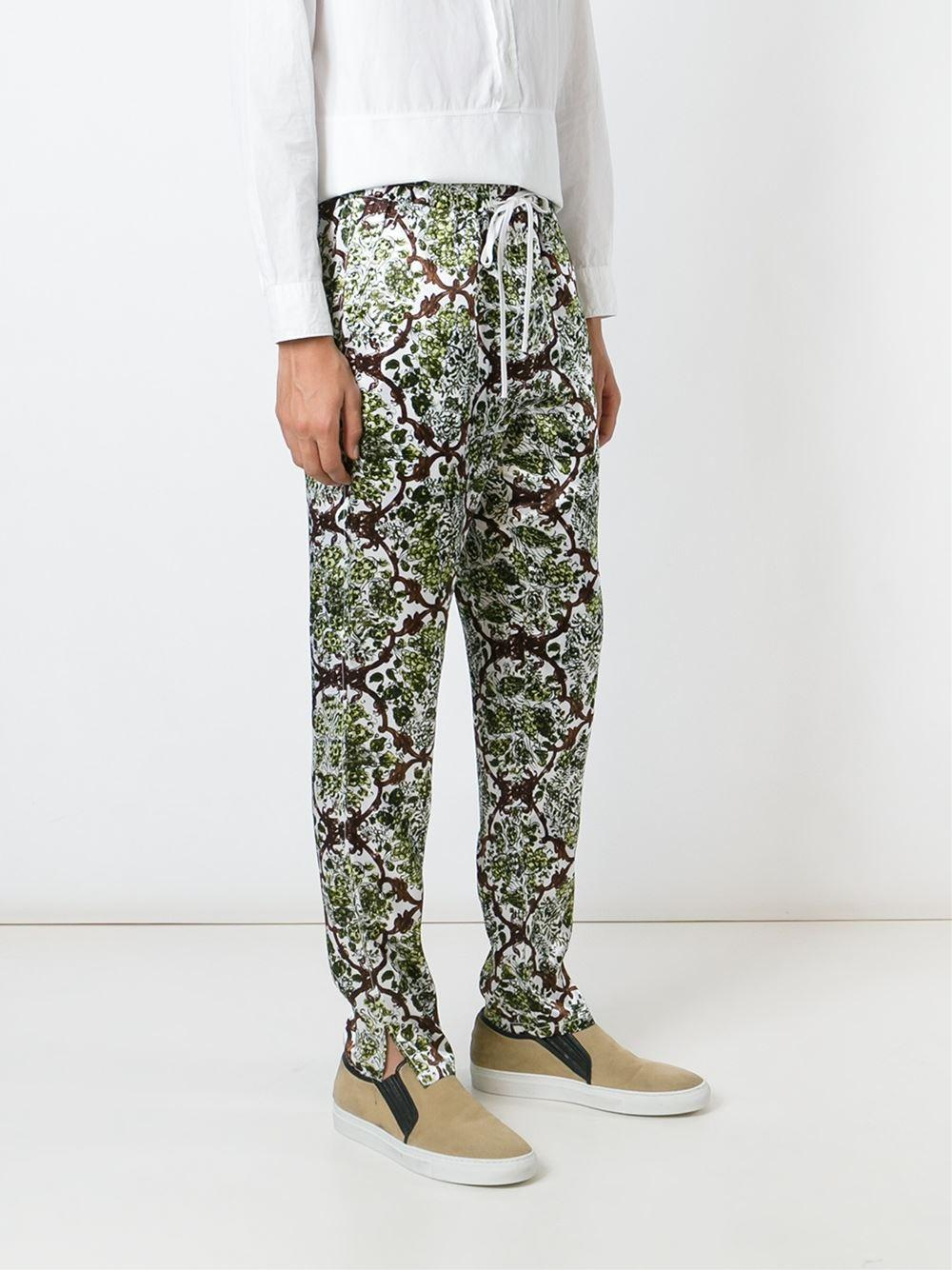3.1 Phillip Lim Baroque Print Trousers in Green for Men