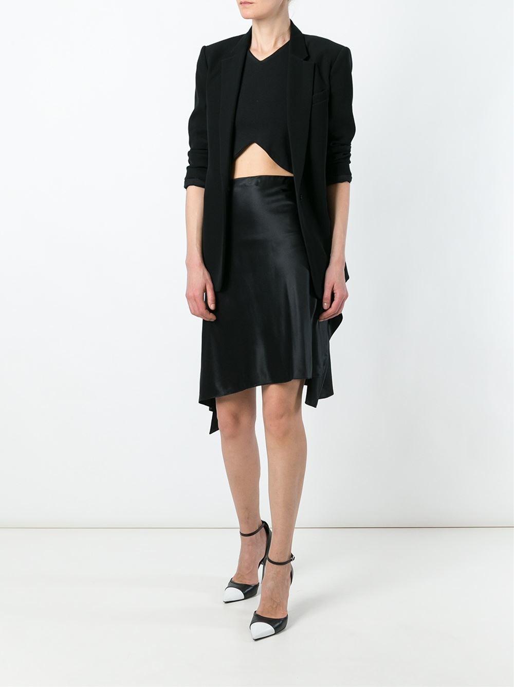 givenchy asymmetric midi skirt in black lyst