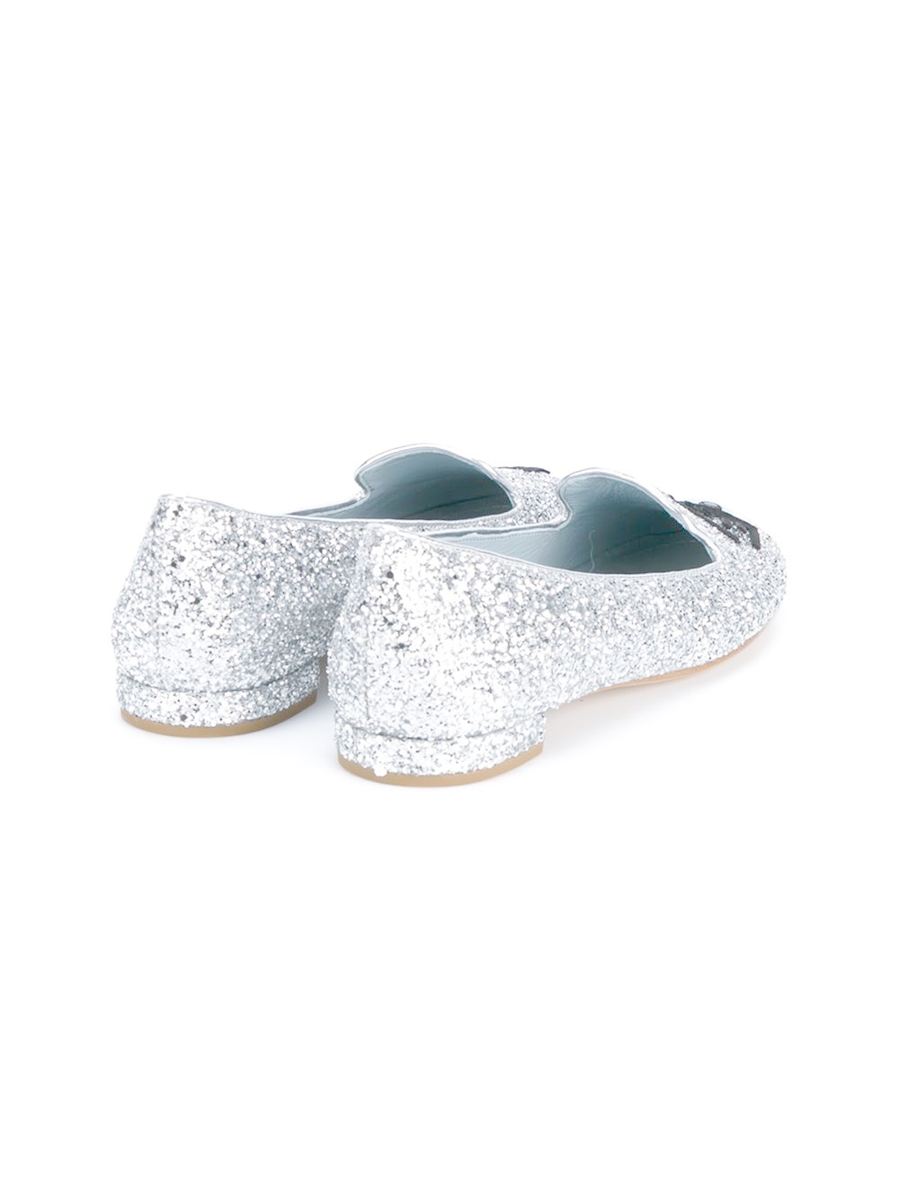 Chiara Ferragni Leather Flirting Glitter Slip-Ons in Metallic