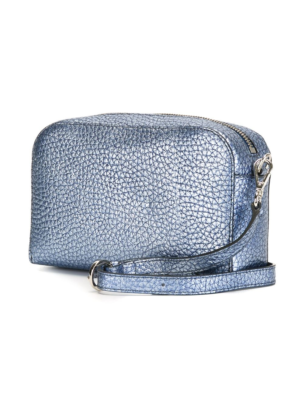 Orciani Leather Textured Zip Up Cross Body Bag in Blue