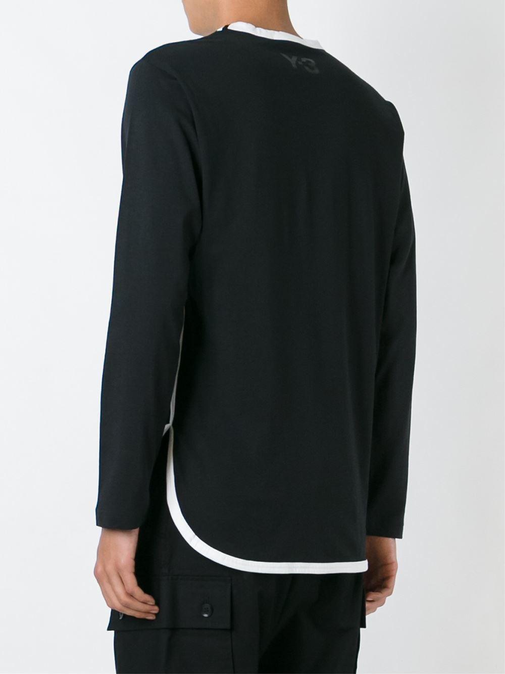 Y-3 Cotton Contrast Trim Sweatshirt in Black for Men