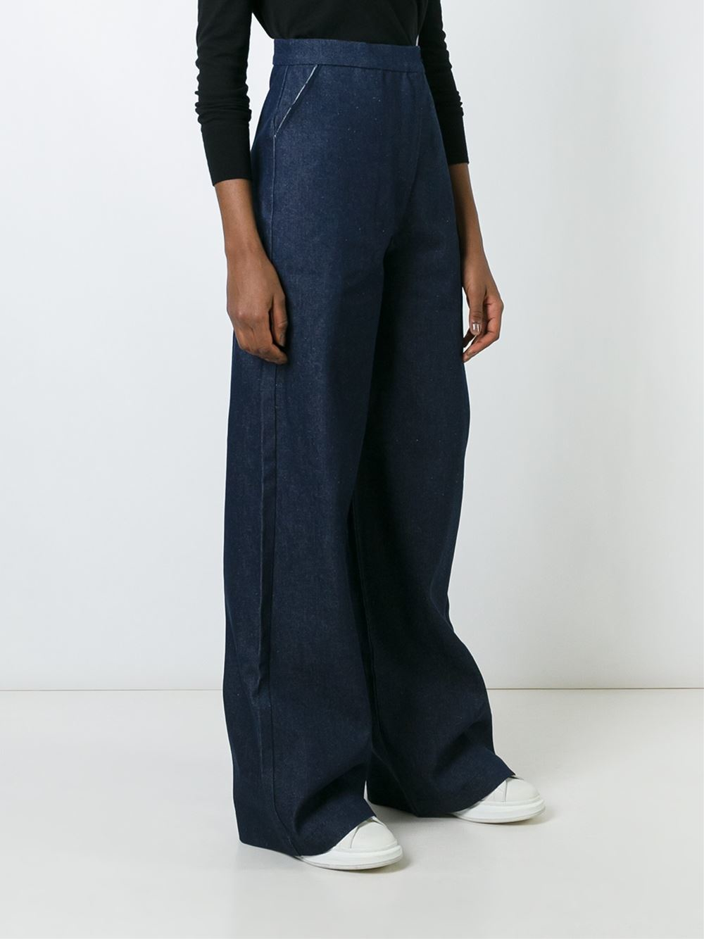Charlie May Denim High Waisted Wide Leg Jeans in Blue